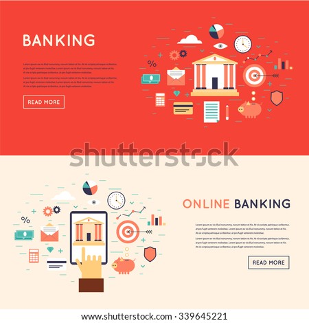 Bank deposited the money, finances, transfers, currency, deposits. On-line payment, mobile payments, electronic funds transfers. Flat design vector illustration. - stock vector