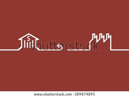 Bank disconnect factory. Concept bank are not lending - stock vector