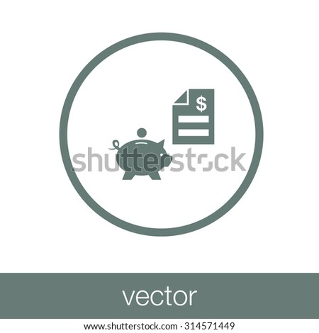 bank & finance icons ( signs ) related to money- vector graphic. This illustration also represents savings account, investments, wealth creation, banking business, saving money ( cash ). - stock vector