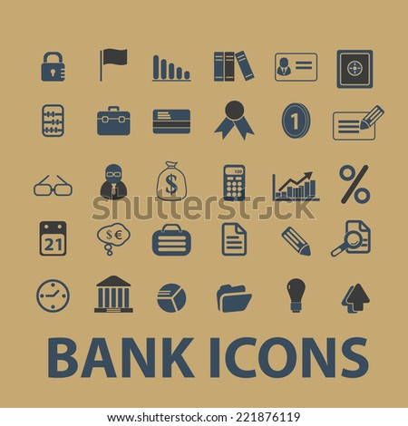 bank, finance, payment, atm icons, signs, silhouettes, illustrations set, vector - stock vector
