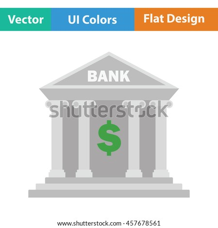 Bank icon. Flat color design. Vector illustration.