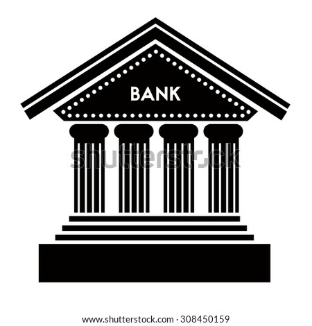 Bank icon on white background. Classic architecture building with columns and steps of the front entrance. Bank letters caption placed above the entrance.  Easily editable EPS file. - stock vector