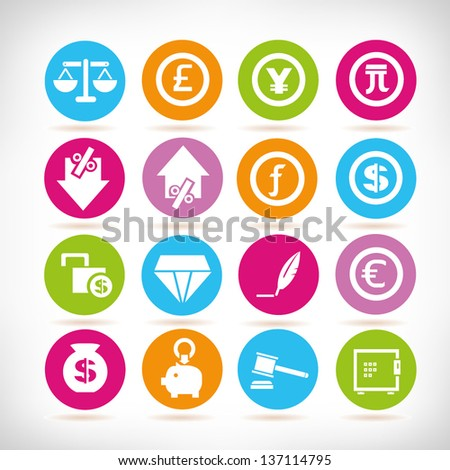 bank icon set, app icons - stock vector
