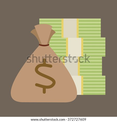 bank note stack and coin bag cartoon vector - stock vector
