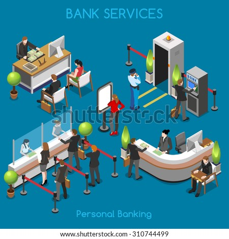 Bank Office Building Floor Interior Detail Elements People Unique Isometric Realistic Poses NEW 3D Flat Vector Isometric Set cashdesk currency exchange JPEG JPG EPS 10 Image Drawing AI Object Picture - stock vector