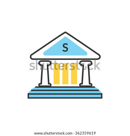 Bank office symbol with ATM dollars and safe icon. Banking concept in flat design. Bank building, finance house, money home, bank icon,  banker, bank interior, business house - stock vector