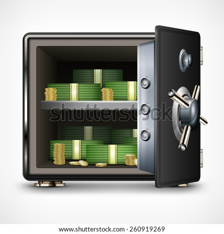 Bank open safe with dollars on white, vector illustration