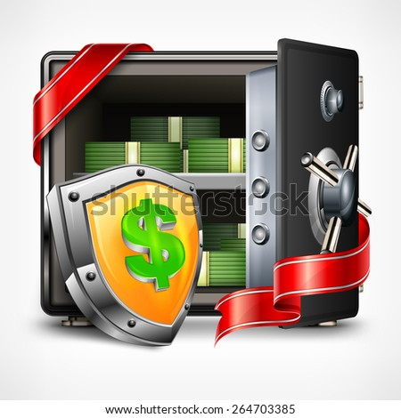 Bank open safe with money, security concept, vector illustration - stock vector