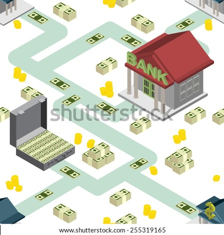 bank pattern maps isometric background vector - stock vector