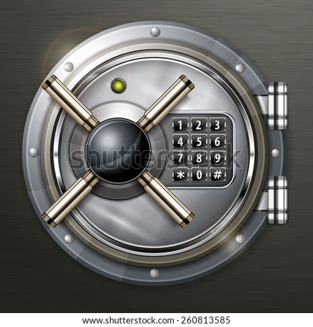 Bank round metallic vault on dark, vector illustration - stock vector