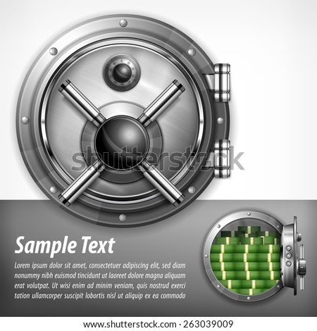 Bank round metallic vault on white & text, vector illustration - stock vector