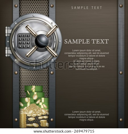 Bank round vault on metallic with money, security concept, vector illustration - stock vector