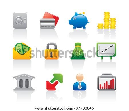 Bank safe entrepreneur economy business green money logo set icons - stock vector