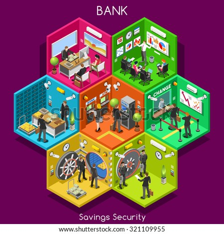 Bank Savings Financial Security Infographics. Palette 3D Flat Vector Icon Set. Interior Room ATM Vault Customer Client Office Staff Concept. Depository Vault Banking Credit Investments EPS JPG JPEG 10 - stock vector