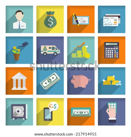 Bank service flat icons set with money box storage check isolated vector illustration - stock vector