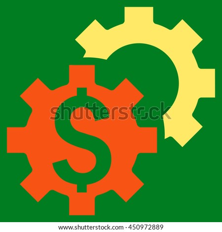 Bank Settings vector icon. Style is bicolor flat symbol, orange and yellow colors, green background.