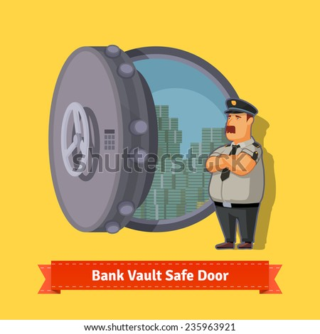 Bank vault room safe door with a officer guard. Opened with money inside. Flat style illustration. EPS 10 vector. - stock vector