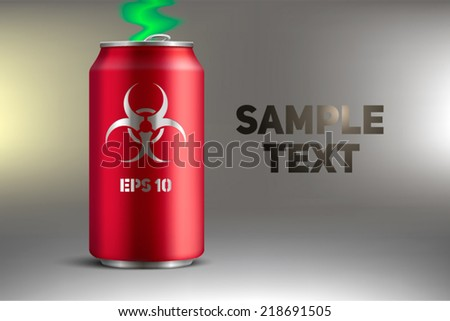 Bank with a poisonous soda - stock vector