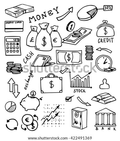 banking and currency hand drawn vector set