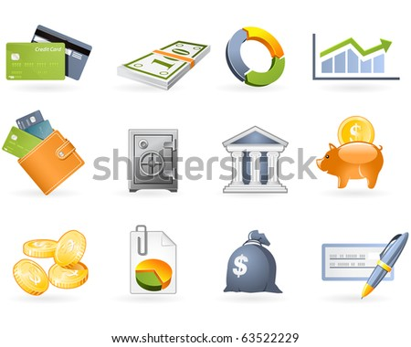 Banking and Finance icon set - stock vector