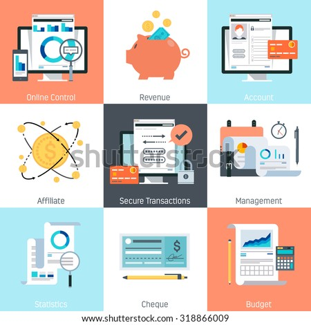 Banking and finance theme, flat style, colorful, vector icon set for info graphics, websites, mobile and print media. - stock vector