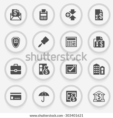 Banking black icons on stickers. Flat design. - stock vector