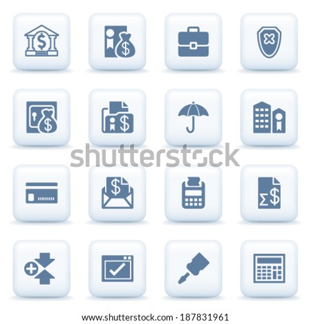 Banking blue icons on white buttons. - stock vector