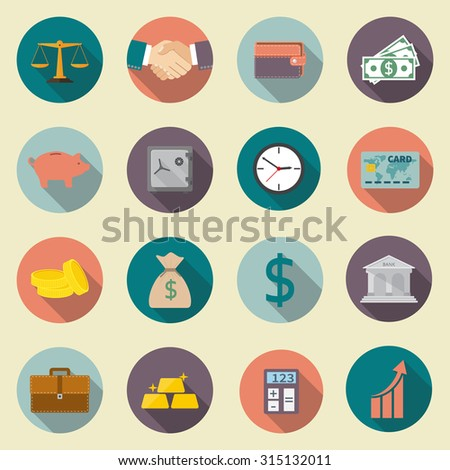 banking, finance, business, money. Color Icons set with long shadow, isolated on white background. Flat design. Vector illustration. - stock vector