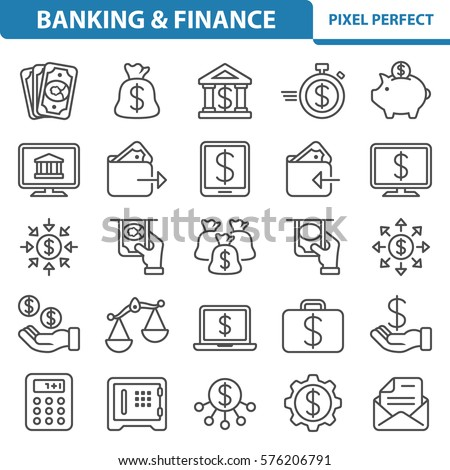 Banking & Finance Icons. Professional, pixel perfect icons optimized for both large and small resolutions. EPS 8 format. 2x size for preview.