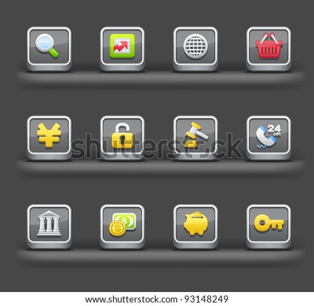 Banking & Finance,Shopping | Mobile devices apps icons - stock vector