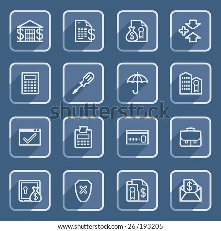 Banking flat contour icons with blue buttons. - stock vector