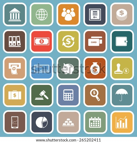 Banking flat icons on blue background, stock vector