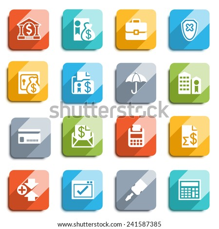 Banking flat icons with color buttons. - stock vector