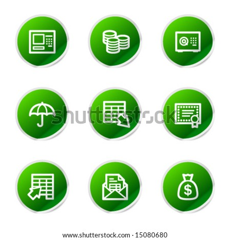 Banking icons, green stickers series