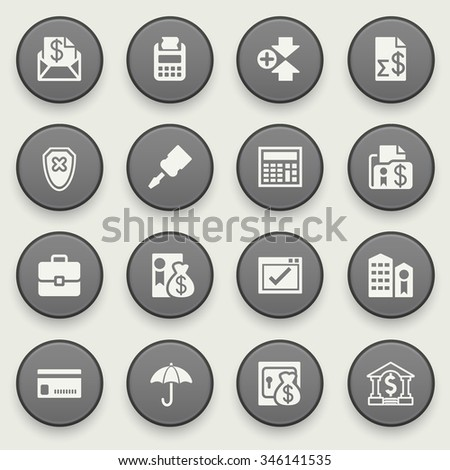 Banking icons on black buttons. Flat design. - stock vector