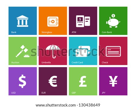 Banking icons on color background. Vector illustration. - stock vector
