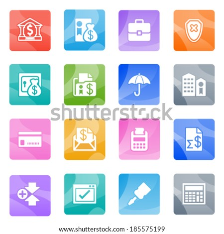 Banking icons on color buttons. - stock vector