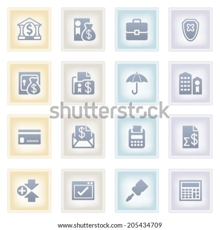 Banking icons on colored paper. - stock vector
