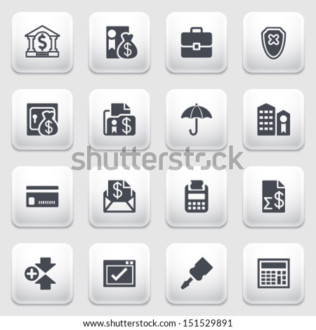 Banking icons on gray background. - stock vector