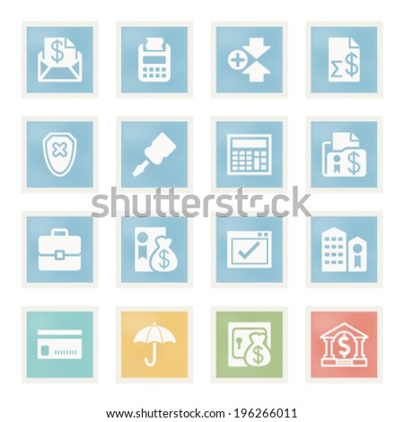 Banking icons on paper. - stock vector