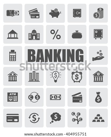 banking icons set - stock vector