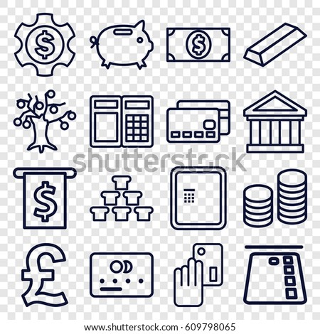 Banking icons set. set of 16 banking outline icons such as atm, credit card, gold, coin, money dollar, money box, creadit card payment, dollar gear, bank, ATM