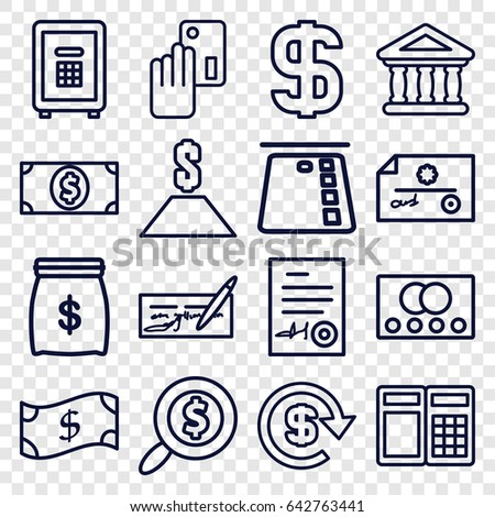 Banking icons set. set of 16 banking outline icons such as credit card, safe, bank, signed document, dollar, search dollar, money dollar, creadit card payment, money sack