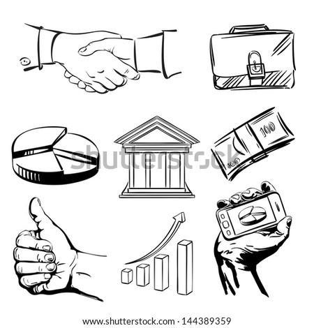 banking icons sketch collection  cartoon vector  illustration - stock vector