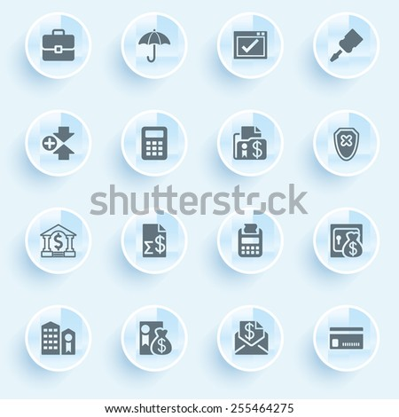 Banking icons with buttons on blue background. - stock vector