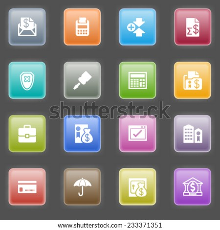 Banking icons with color buttons on black background. - stock vector