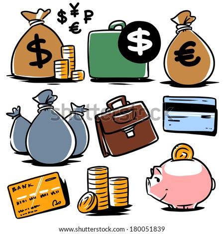 banking illustration icons set 2 - stock vector