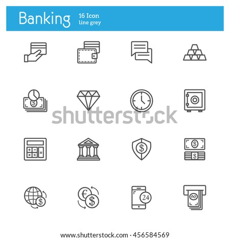 Banking line icons, Finance line icon set - stock vector