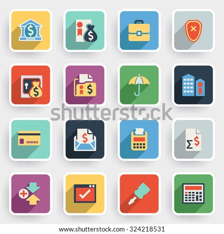 Banking modern flat icons with color buttons on gray background. - stock vector