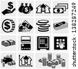 Banking, money and coin vector icons set. - stock photo